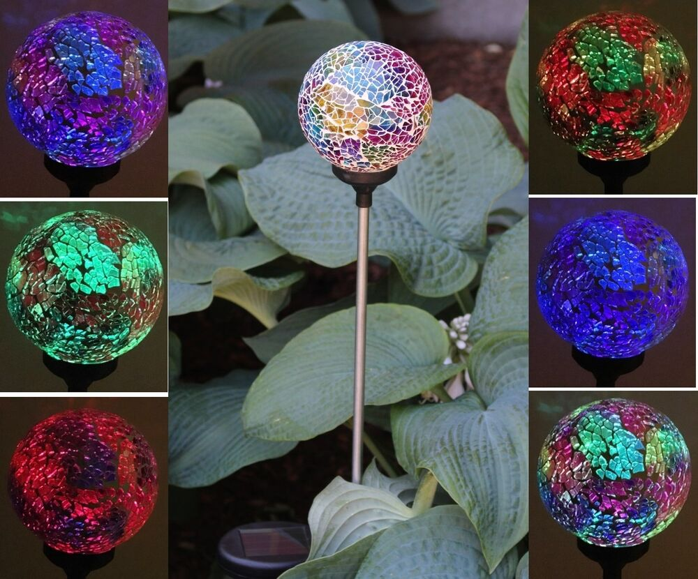 Solar glass ball garden stake outdoor landscape lamp color change yard led light ebay for Solar garden stakes color changing