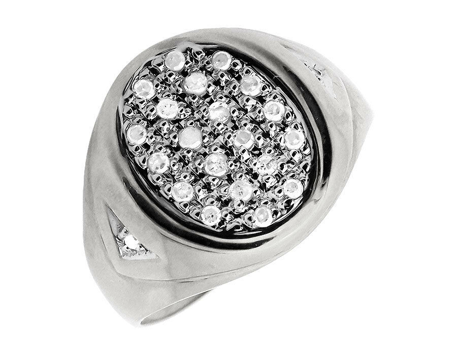 Men s Solid 10K White Gold Oval Shape Top Genuine Diamond Pinky Ring 0 25