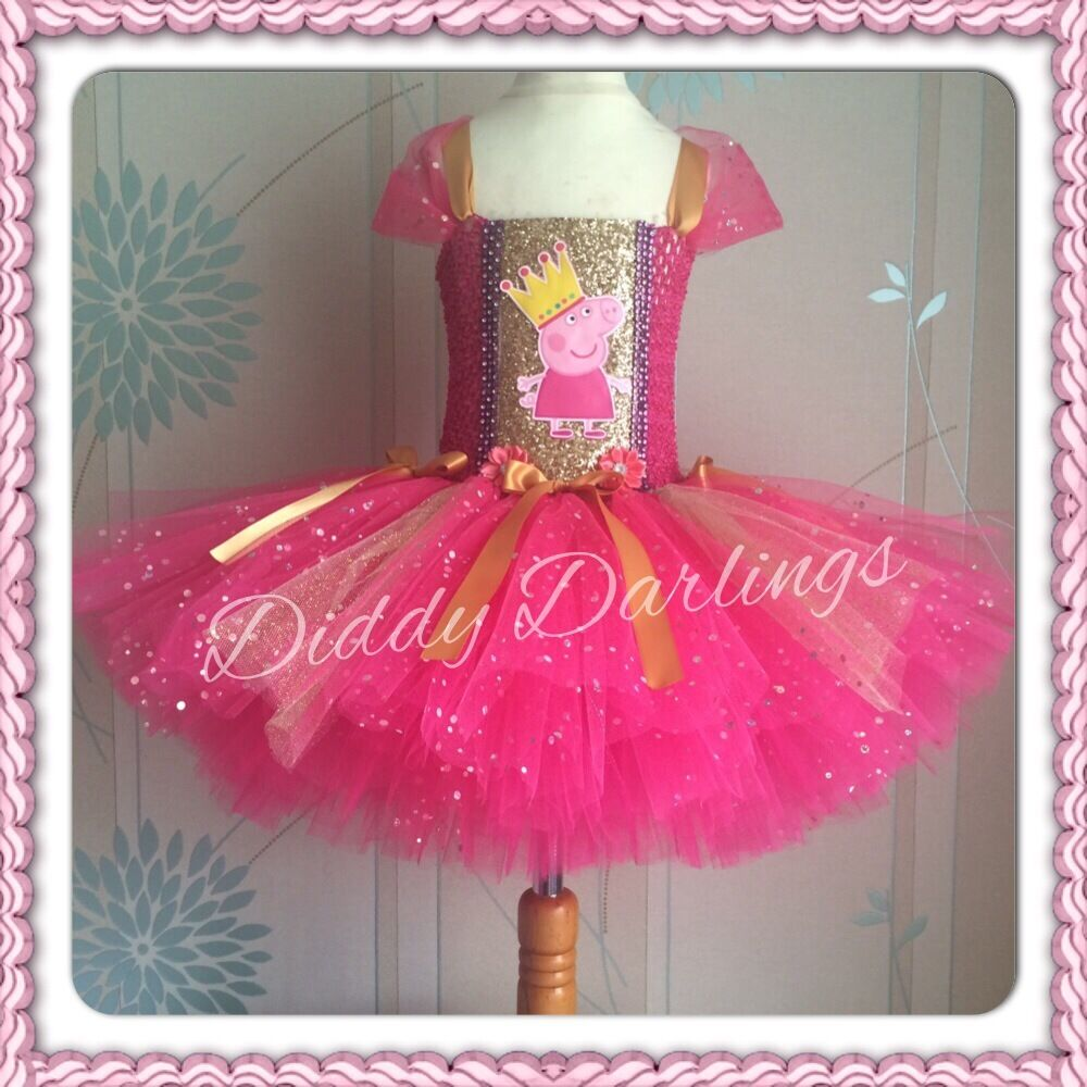 Pink And Gold Peppa Pig Tutu Dress Sparkly Glitter Sequins