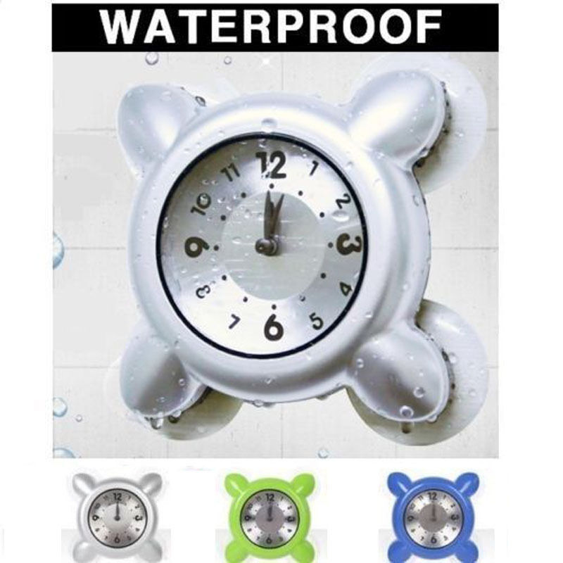 Waterproof Wall Shower Clock Bath Bathroom Strong Suction