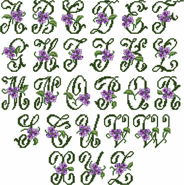 Abc designs violets font large machine embroidery cross for Embroidery office design version 7 5