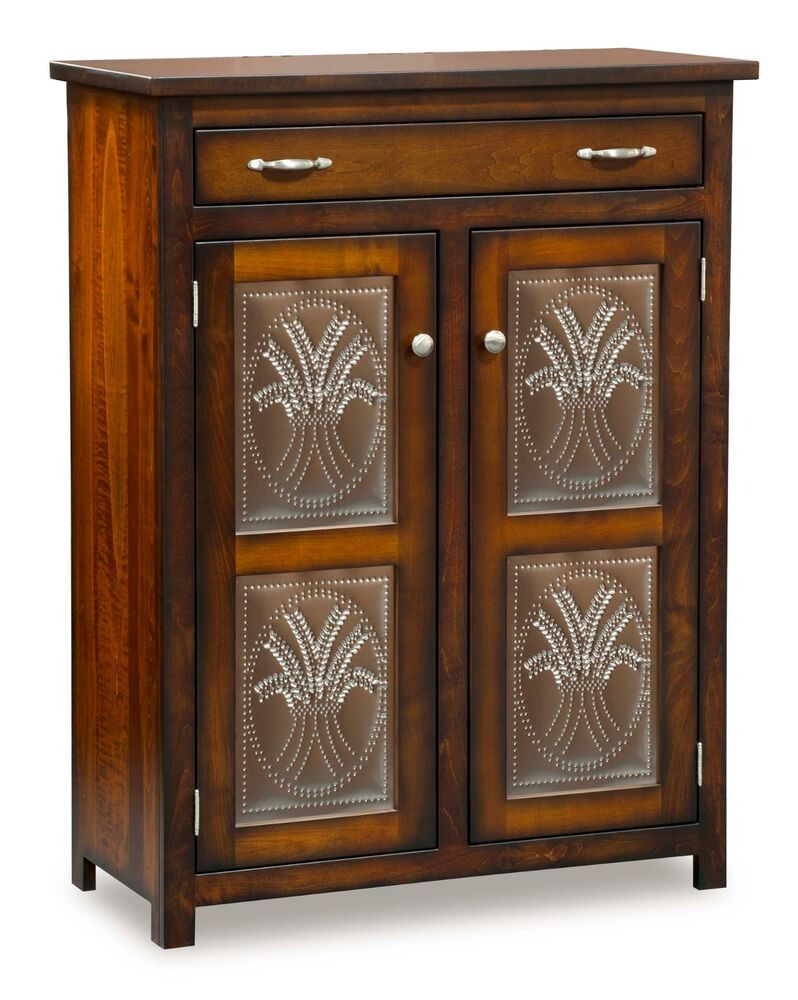 Amish pie safe wheat in door panels kitchen pantry for Kitchen cupboard cabinets