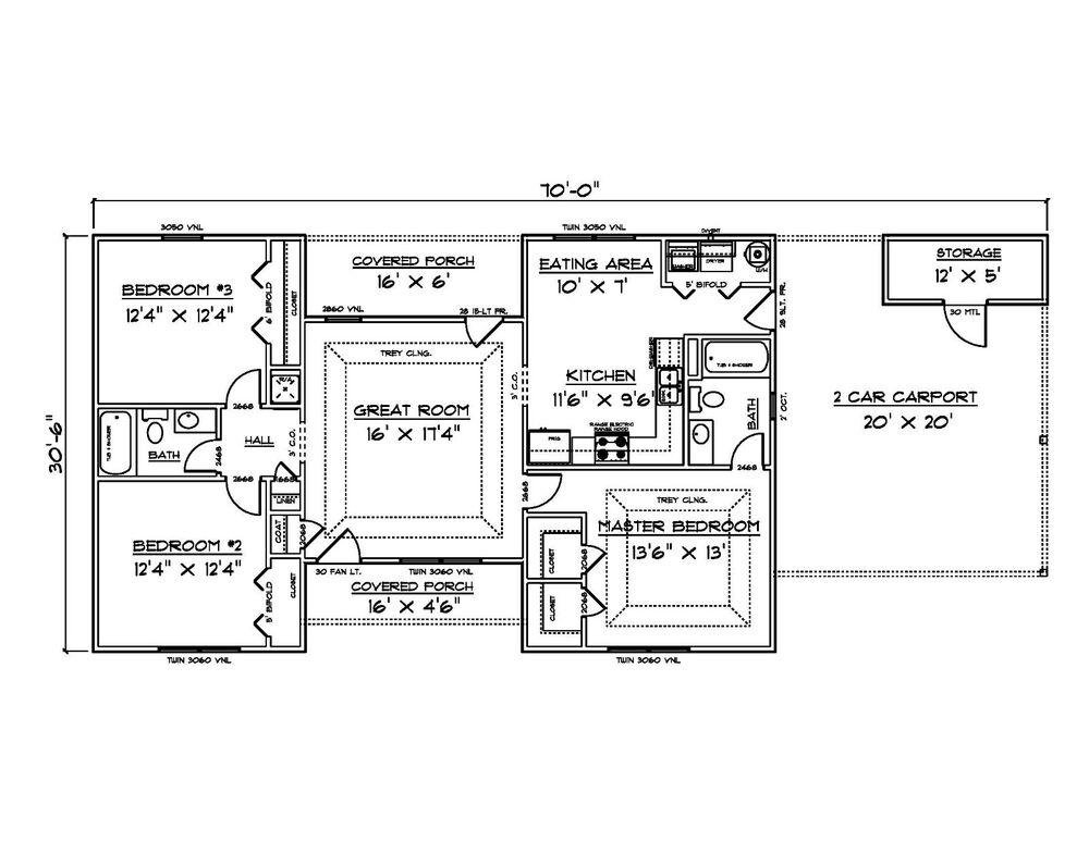 house plans for 1340 sq ft 3 bedroom house w carport ebay 89401