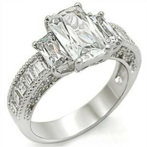 emerald cut baguettes cubic zirconia engagement
