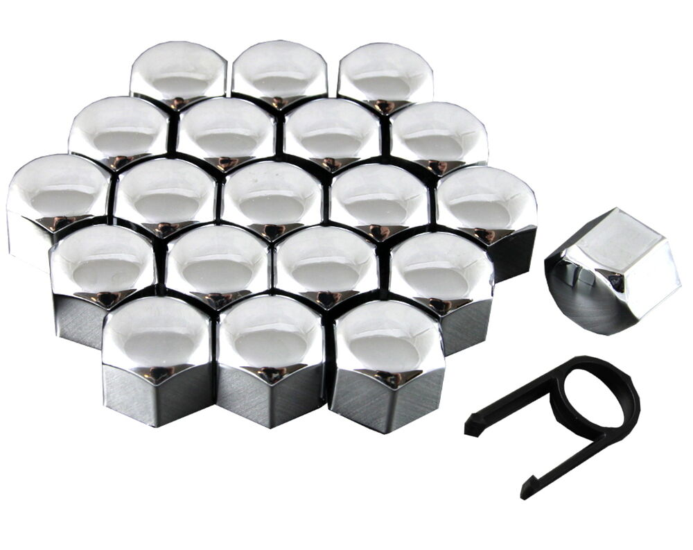 Set 20 17mm Chrome Car Caps Bolts Covers Wheel Nuts For