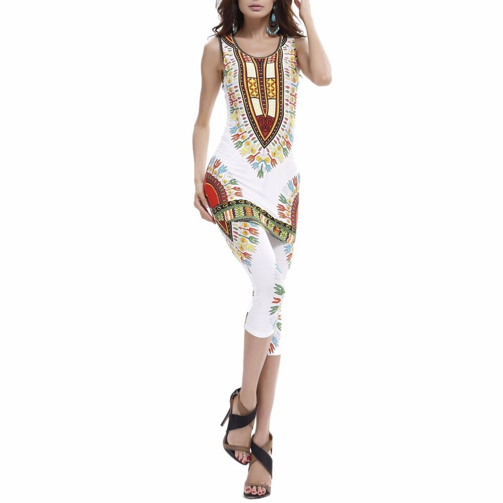 Women Summer African Design Printed Vests Sets Plus Size ...