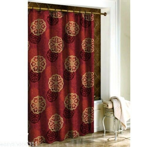 NEW Cameo Oriental Asian Red Gold Shanghai Fabric Shower