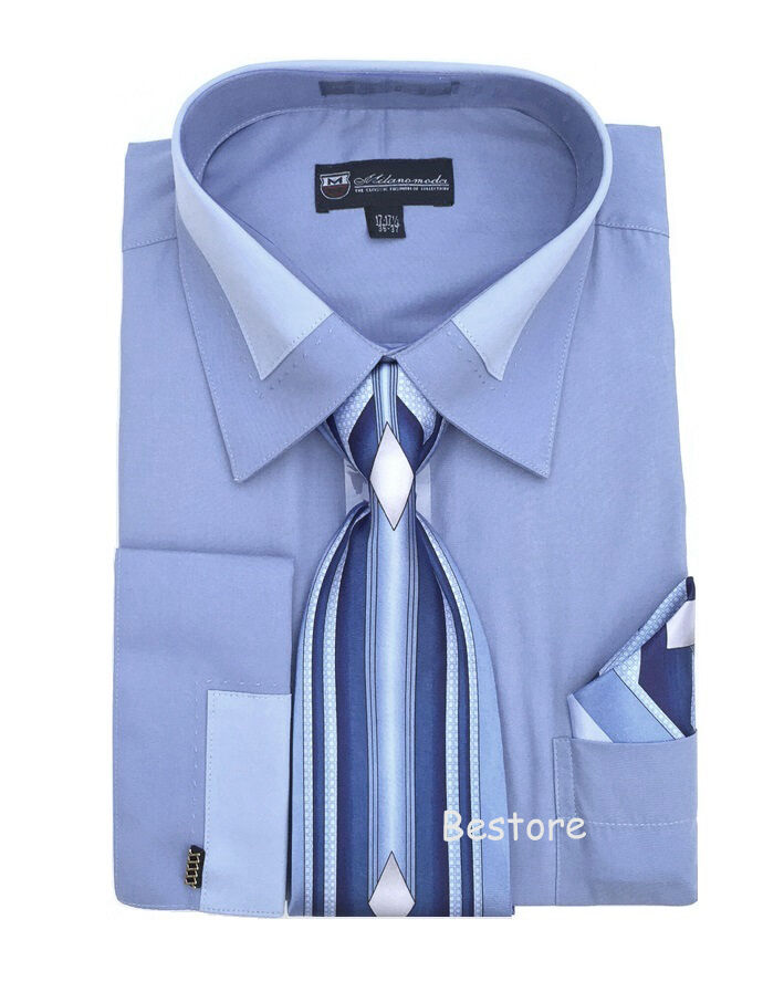 Men 39 s french cuff dress shirt with tie and handkerchief for Mens white french cuff shirt