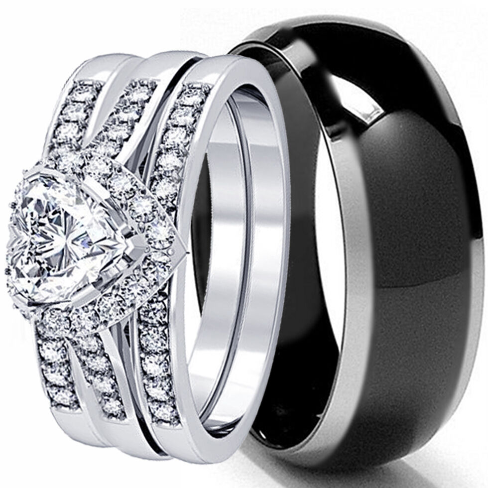 Womens Black Wedding Bands: HIS AND HERS 4 PCS MENS WOMENS STERLING SILVER BLACK