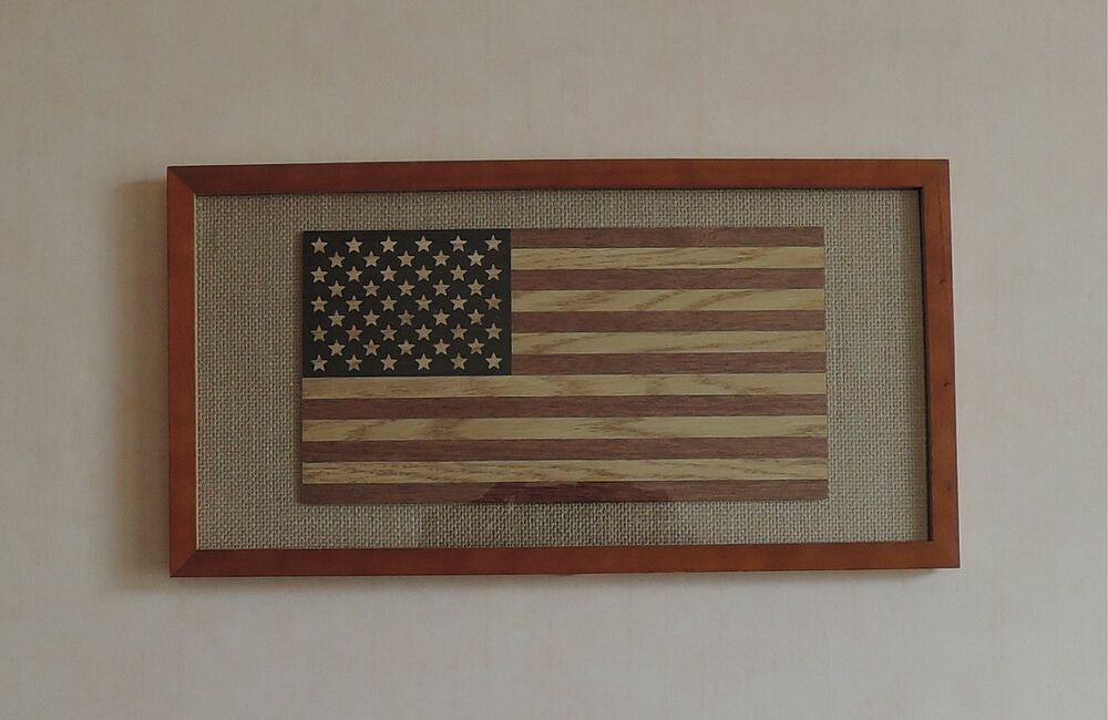 New Handcrafted Wood Us Flag Patriotic Wall Art