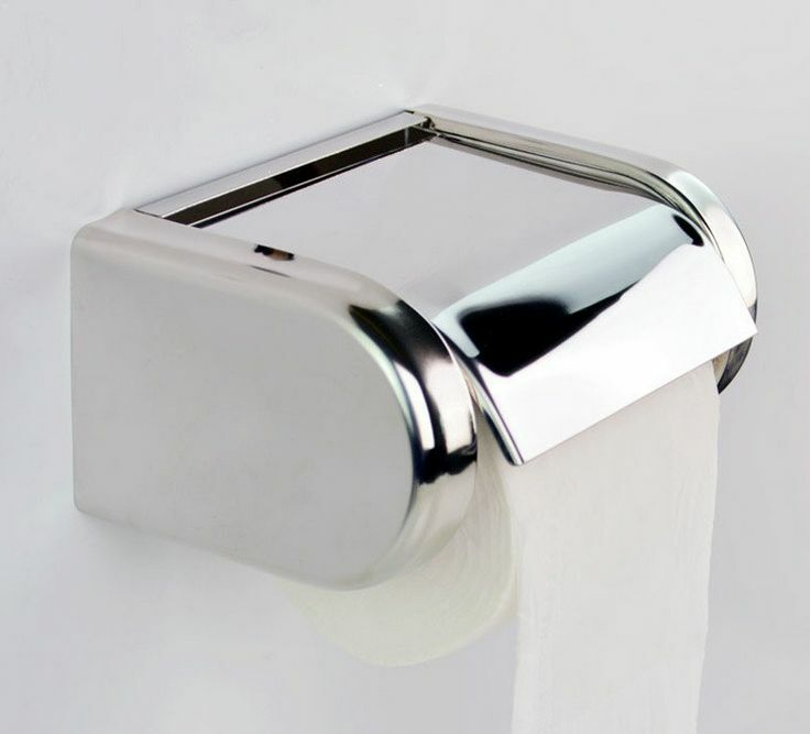 Wall Mounted Chrome Finish Toilet Paper Holder Tissue Box