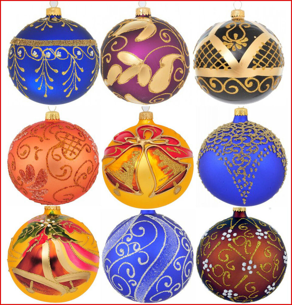 6 Glass Christmas Baubles Handmade Painted Balls Ball