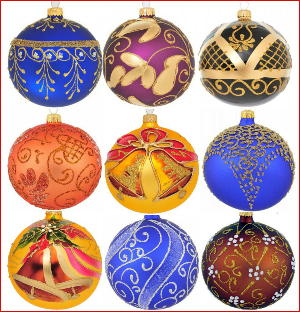 Decorative Christmas Ball Ornaments: 6 Glass Christmas Baubles Handmade & Painted Balls Ball
