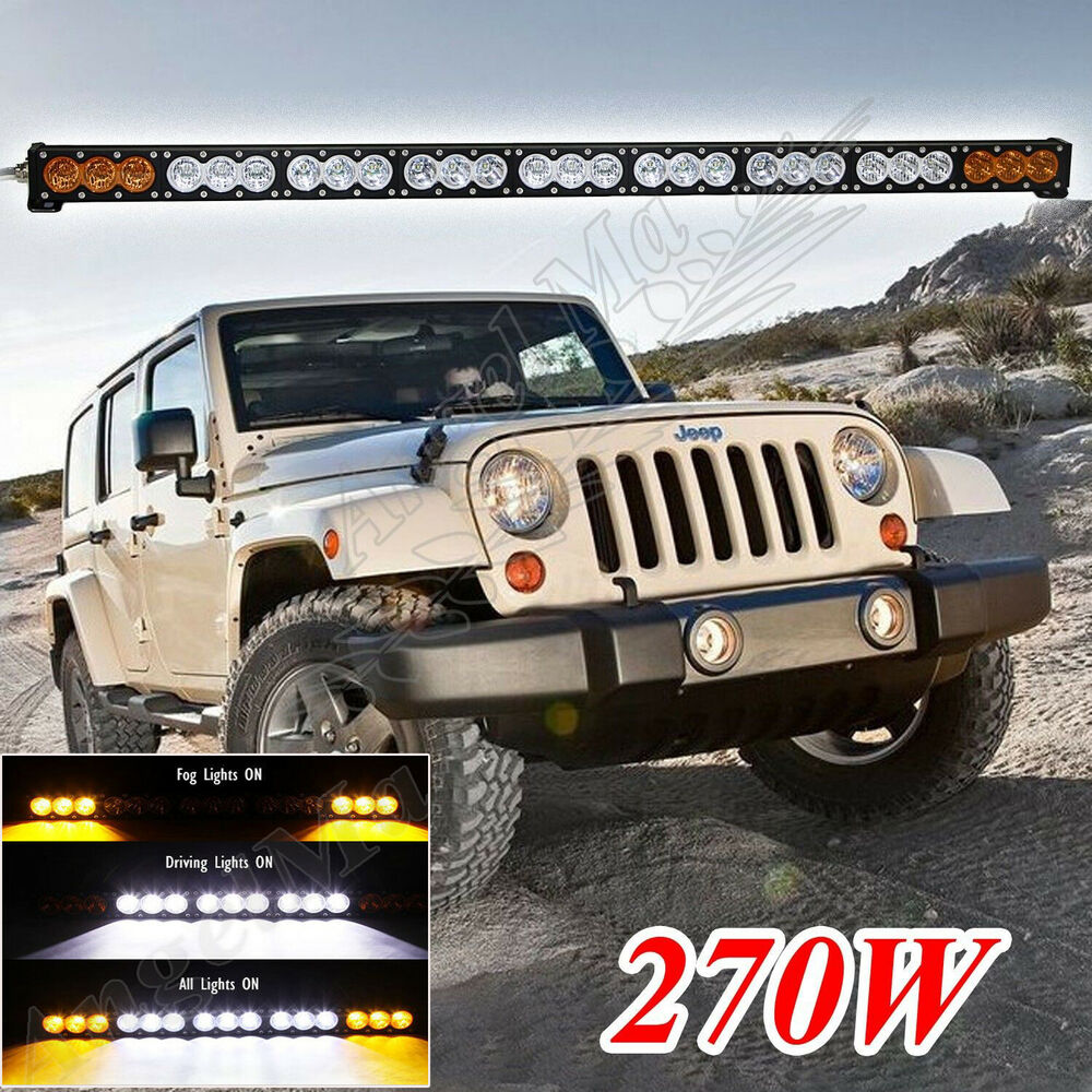 50inch 270w Amber White Dual Colors Led Work Light Bar