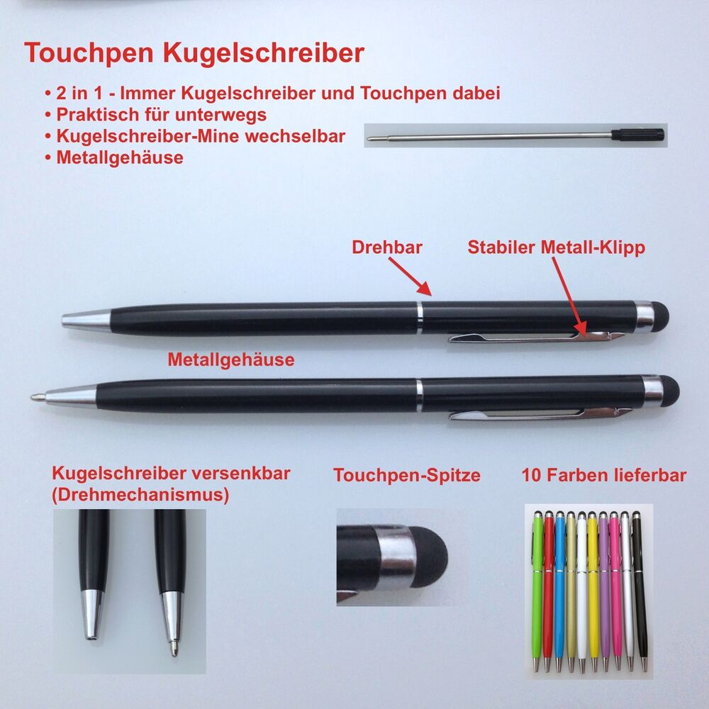 5x stylus touchpen eingabestift kugelschreiber ball pen smartphone tablet iphone ebay. Black Bedroom Furniture Sets. Home Design Ideas