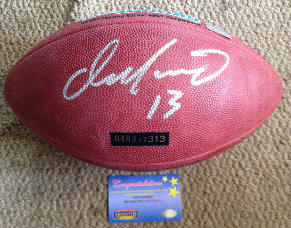 608ce9d2083 Details about Dan Marino Signed Autograph AUTO Autographed Football STAT  MOUNTED MEMORIES