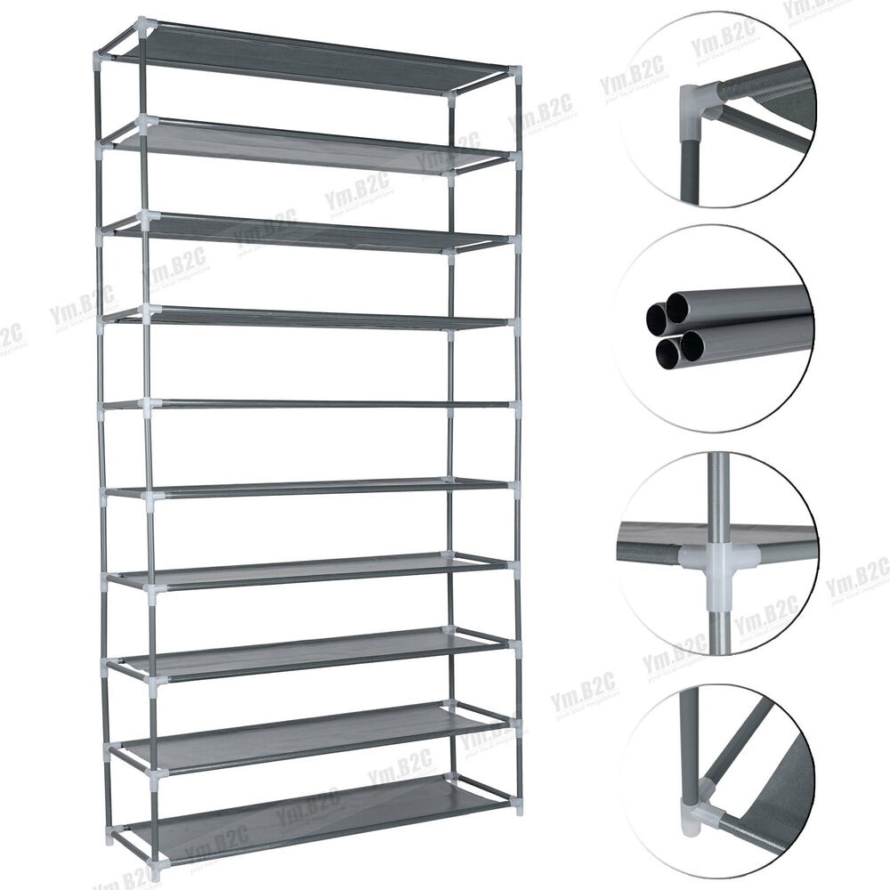 Portable Metal Architecture Cabinets : Pairs tiers portable steel stackable storage shoe