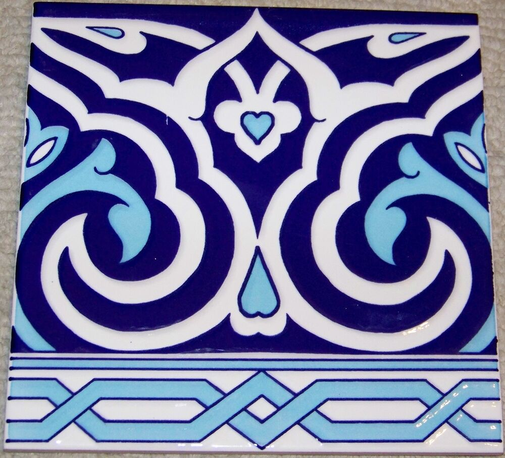 Floral Amp Geometric Raised 8 Quot X8 Quot Turkish Iznik Blue Amp White