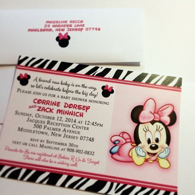 Minnie Mouse Zebra Print Baby Shower: Minnie Mouse And Zebra Baby Shower Invitations-Set-of-10
