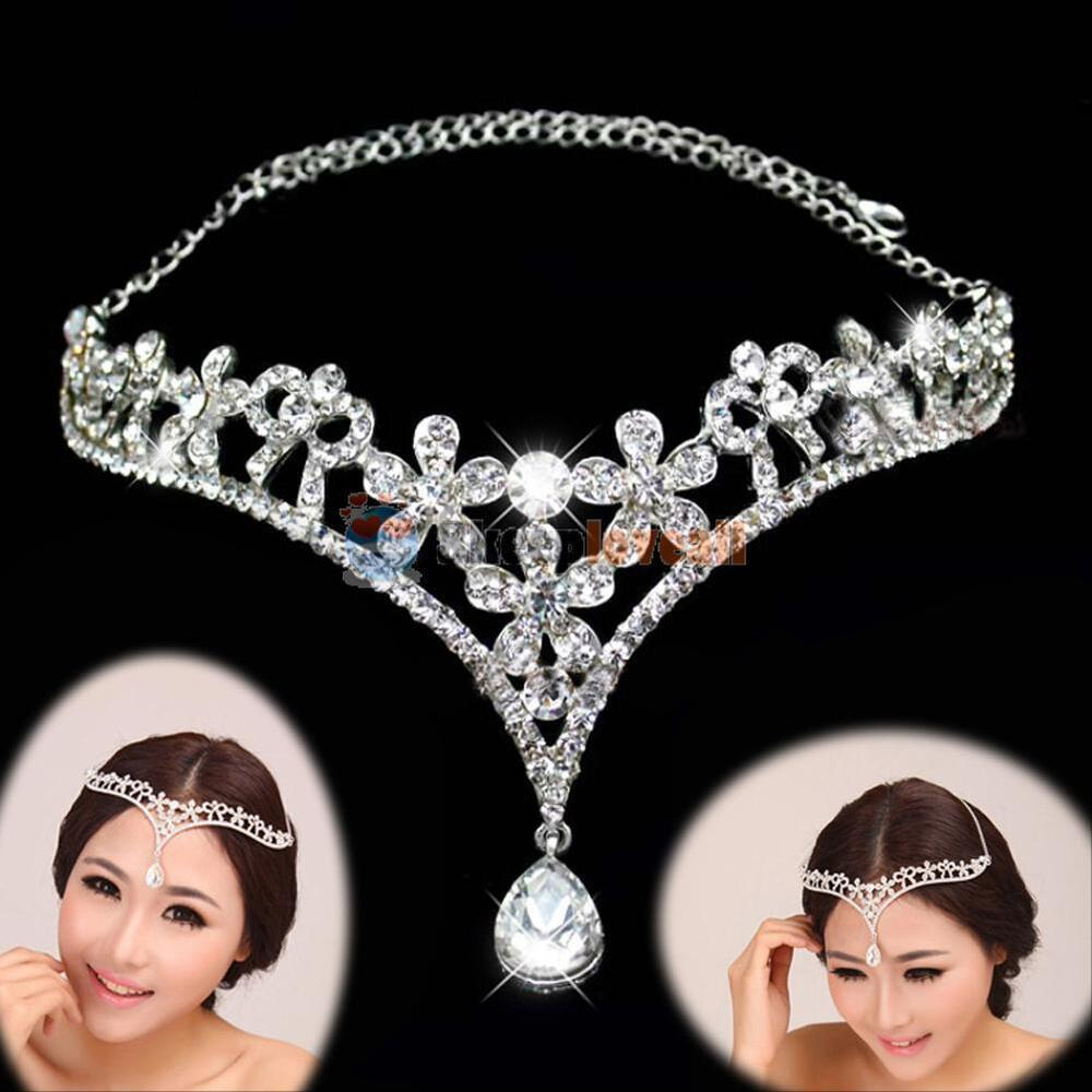 Women Wedding Tiara Bridal Prom Crystal Flower Crown Tiara