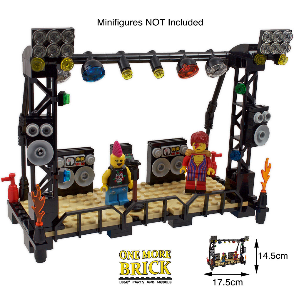 Lego Music Stage Concert Stand Microphone Speakers Dj Equipt