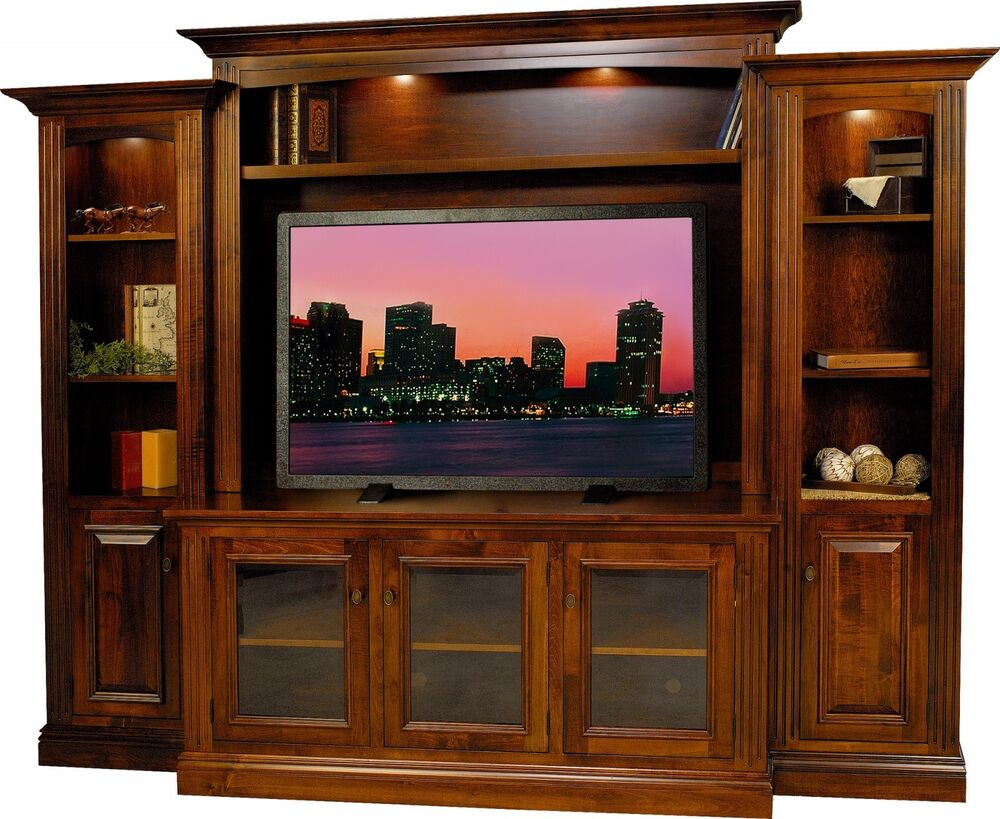 Amish berlin tv entertainment center solid wood media wall unit cabinet storage ebay Wooden entertainment center furniture