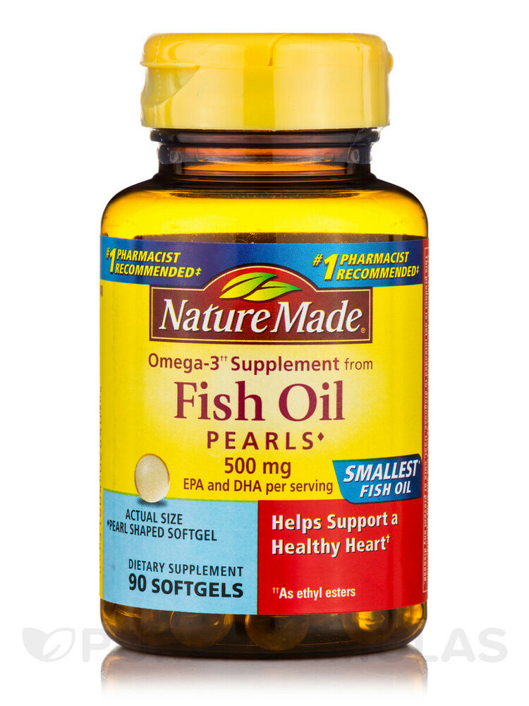 Fish oil pearls 500 mg 90 softgels by nature made ebay for Daily fish oil