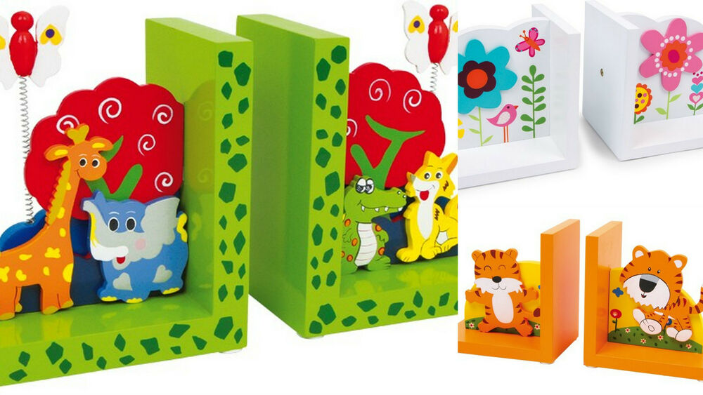 Bookends Kids Childrens Decor Wild Animals Lion Flowers Wooden Top Quality New Ebay