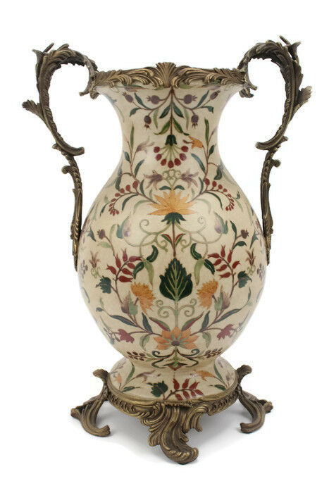 Elegant French Chinoiserie Porcelain Vase With Brass Ormolu Accents 17 5 Quot Ebay