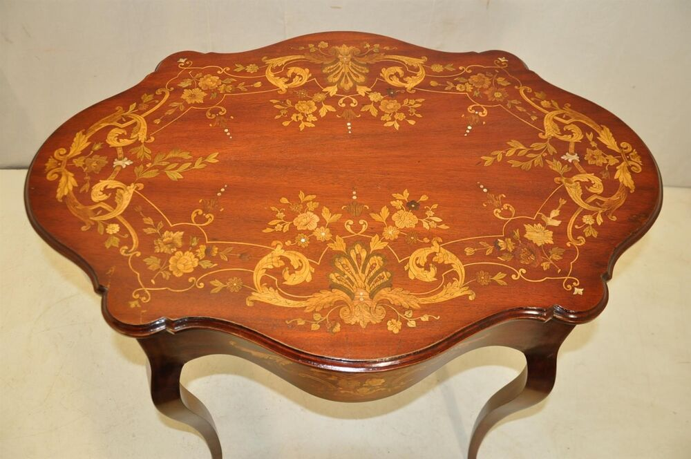 Gorgeous Antique Inlaid Marquetry French Victorian