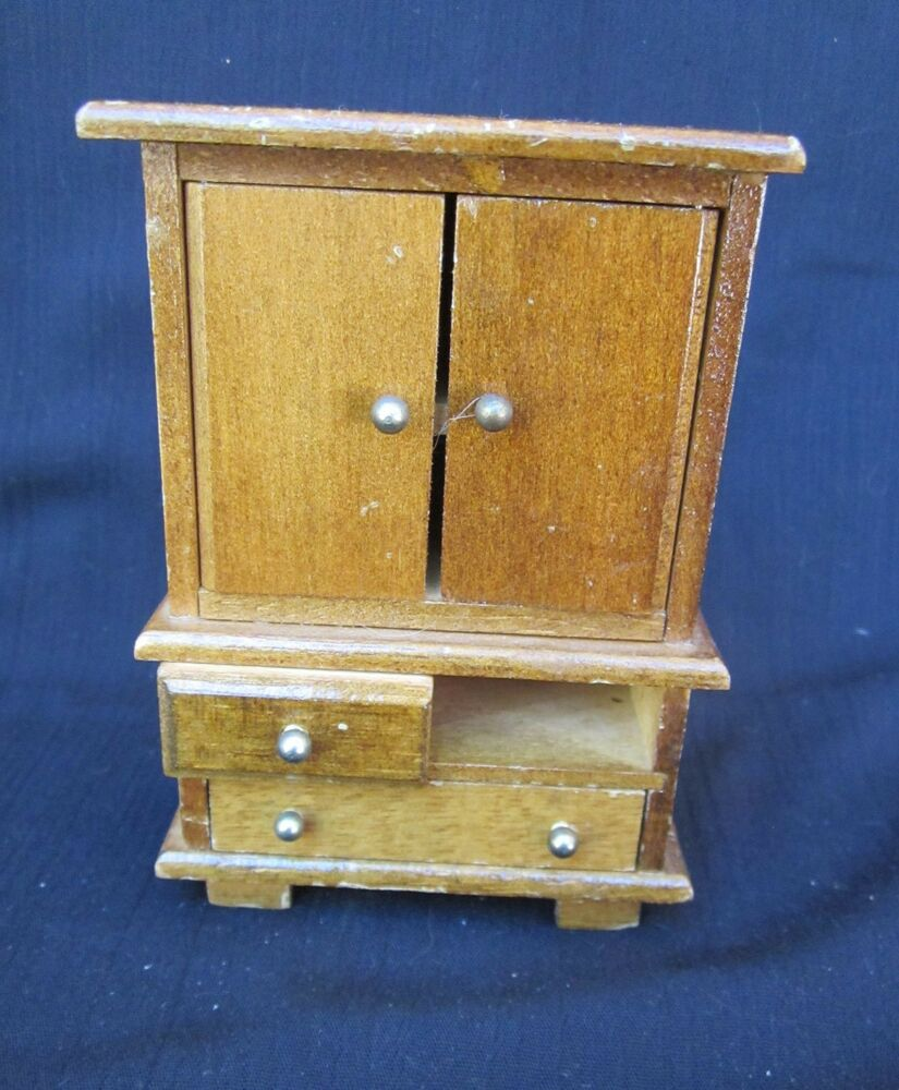 Vintage miniature doll furniture wooden armoire bedroom