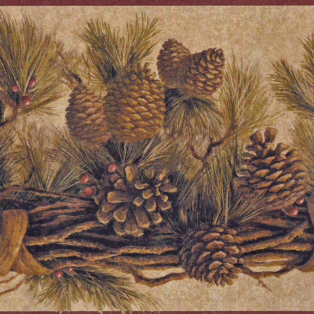 Pine cone bough stencil free wallpaper for Pinecone wallpaper