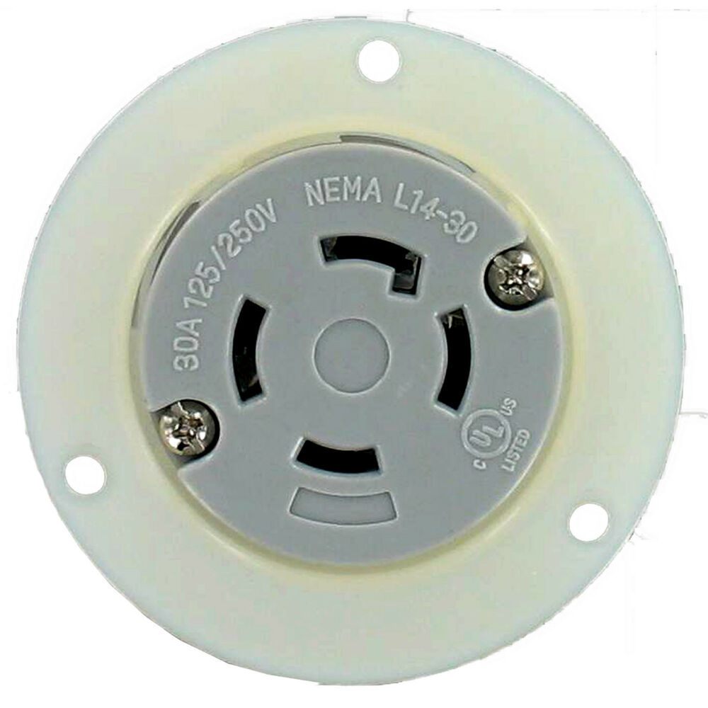 nema l14 30 30 amp 125 250v 3 pole 4 wire flanged outlet. Black Bedroom Furniture Sets. Home Design Ideas