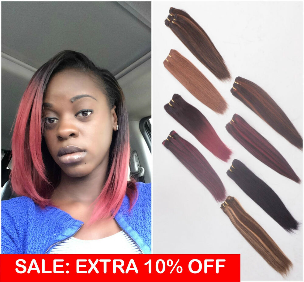 Thick Remy Human Hair Weave Weft Extensions Yaki Straight
