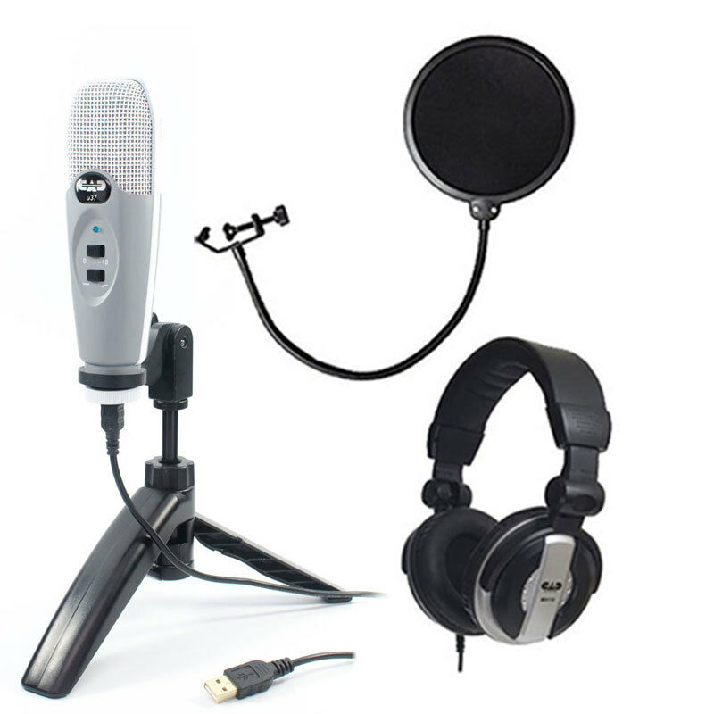 cad u37 grey usb studio vocal recording mic package pop filter headphones ebay. Black Bedroom Furniture Sets. Home Design Ideas