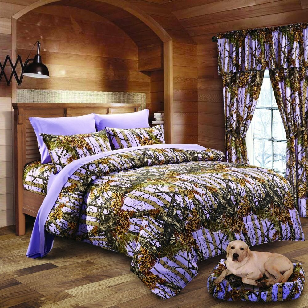 9 Pc Lavender Camo Comforter Sheet And Curtain Set Twin
