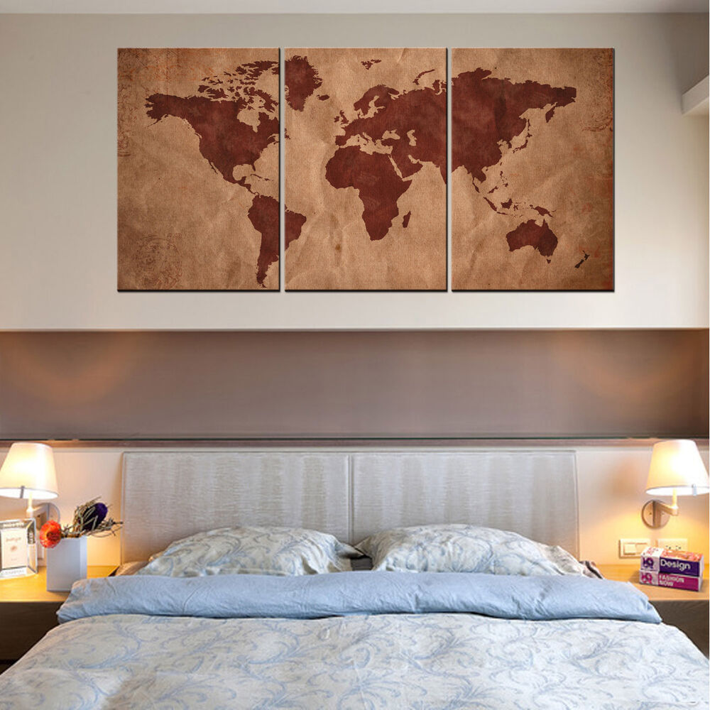 Hd canvas print canvas picture wall art painting home decor world map wood frame ebay - Home decor picture ...