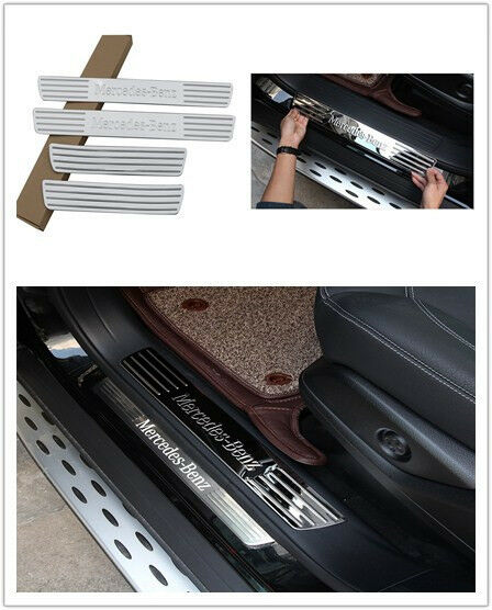 Pack 4x door sill scuff plate guards for mercedes benz ml for Mercedes benz plate