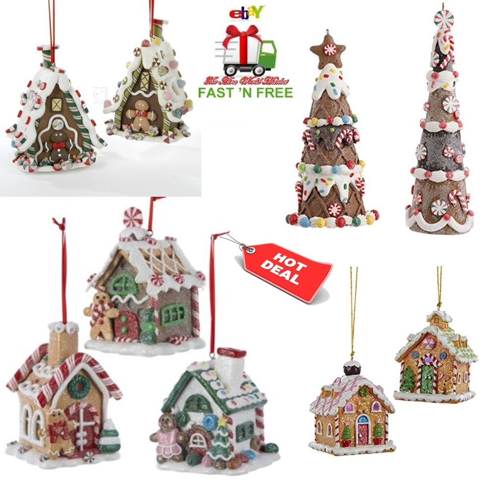 Christmas ornaments tree gingerbread house hanging 3d for Hanging christmas decorations