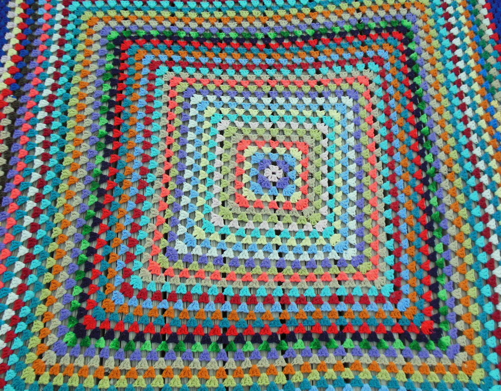 Quilt Patterns To Knit : Vintage Handmade Knit Afghan Granny Square Blanket, Throw Quilt, Ships Free. eBay