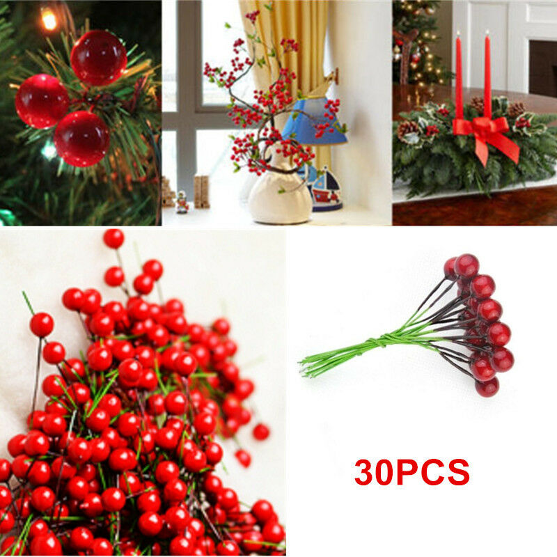 30x Christmas Xmas Red Berry Pick Holly Branch Wreath