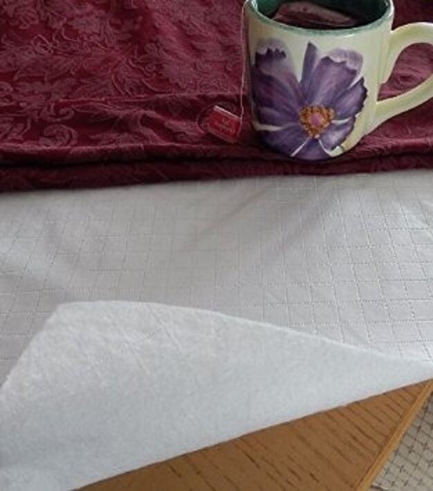 White Quilted Flannel Dining Table Pad Protector Round 70