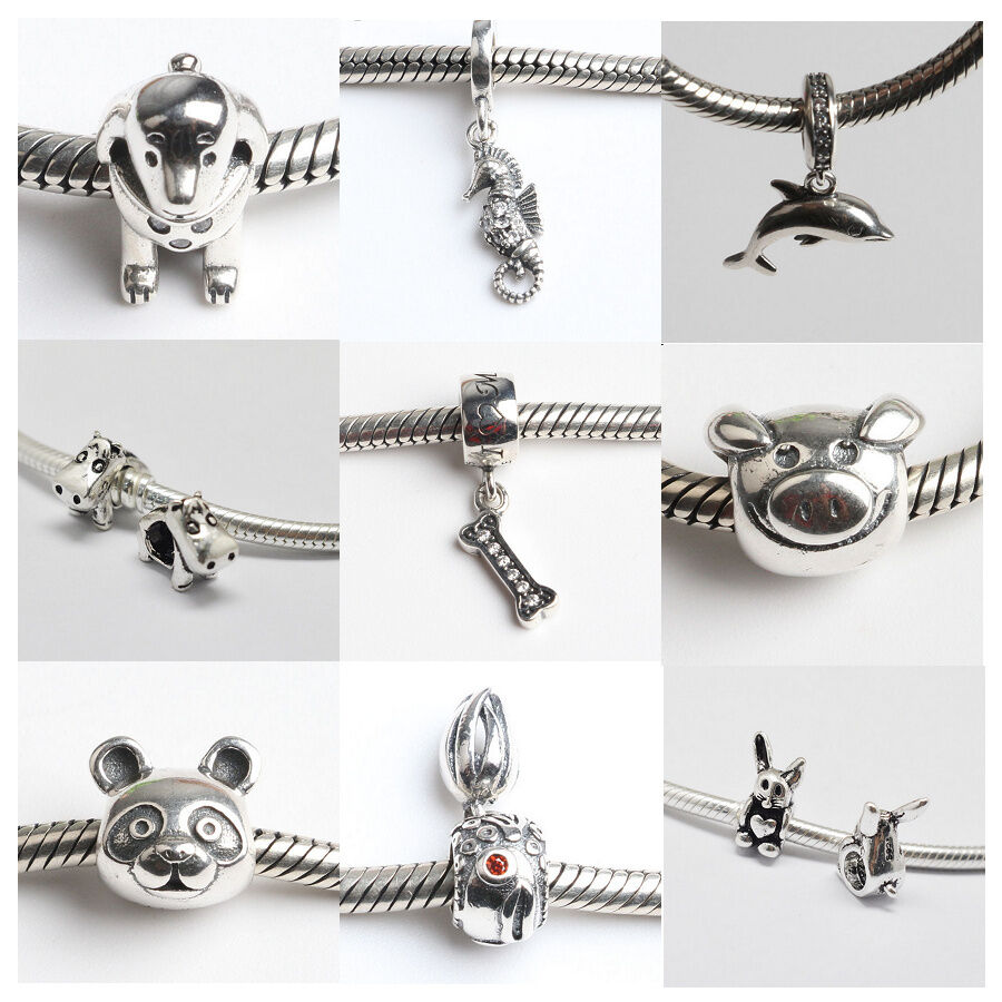 European Charm Bracelets: S925 Sterling Silver Animal Charms Pendants Beads Fit