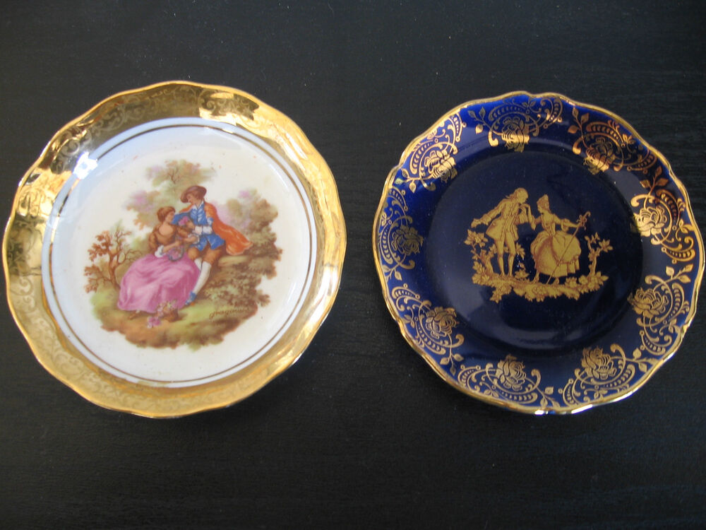 pair of limoge porcelain miniature plate pin dish white cobalt blue ebay. Black Bedroom Furniture Sets. Home Design Ideas