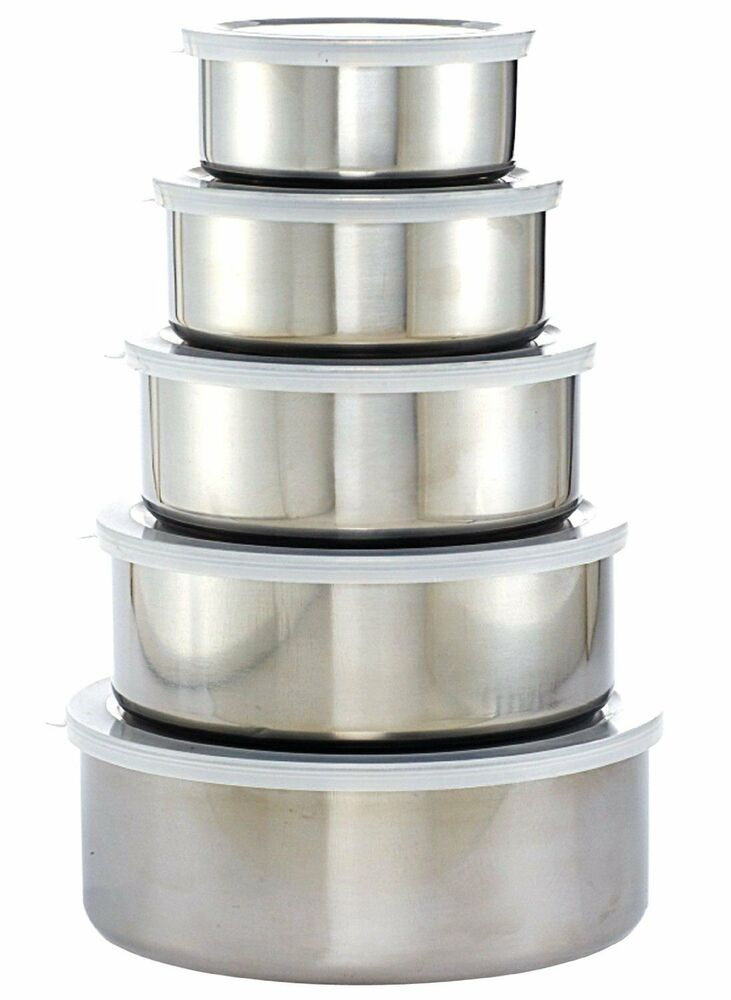 5 x stainless steel mixing bowl set with plastic lids new normal quality grade b ebay. Black Bedroom Furniture Sets. Home Design Ideas
