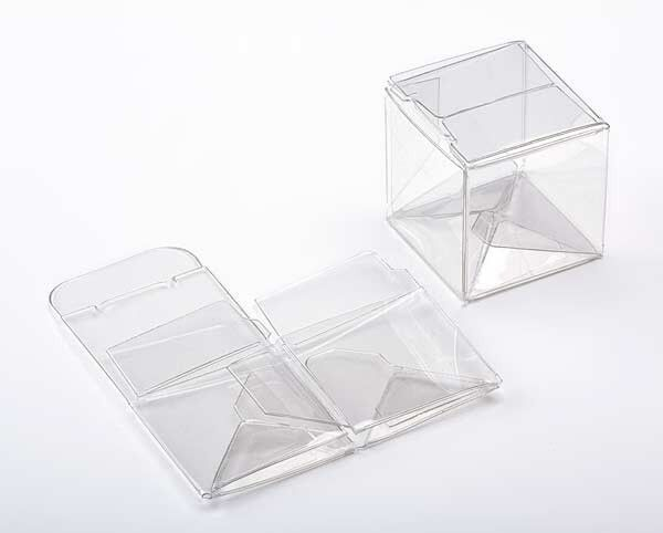 Gold Favor Boxes 4x4x4 : Clear plastic small cube boxes inches square for