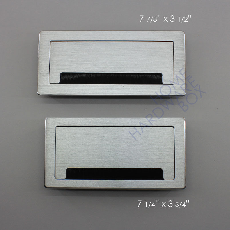 Aluminum desk wire grommet satin rectangle table top hole for 2 furniture hole cover