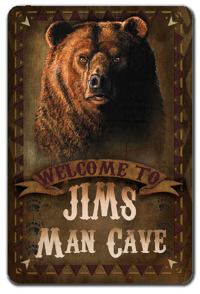 Man Cave Metal : Personalized grizzly bear man cave metal garage sign