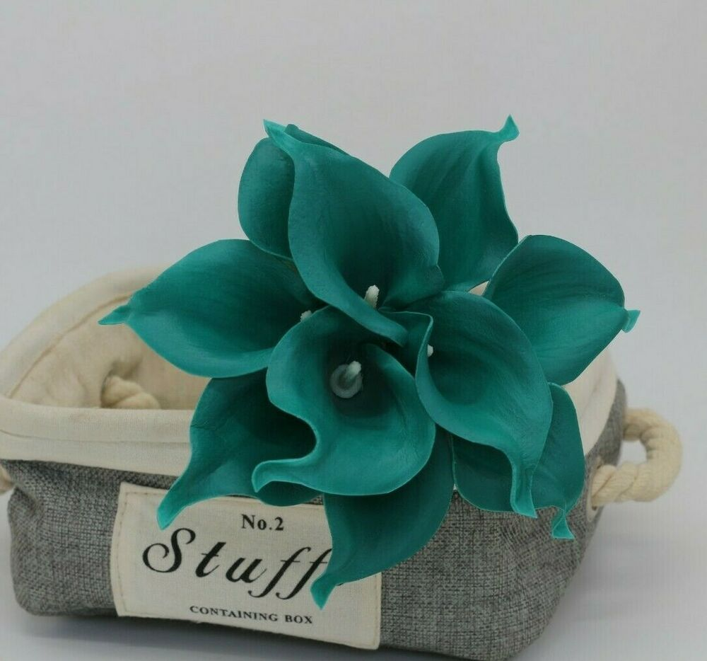 10 Dark Teal Calla Lilies Real Touch Calla Lily Bouquet ...