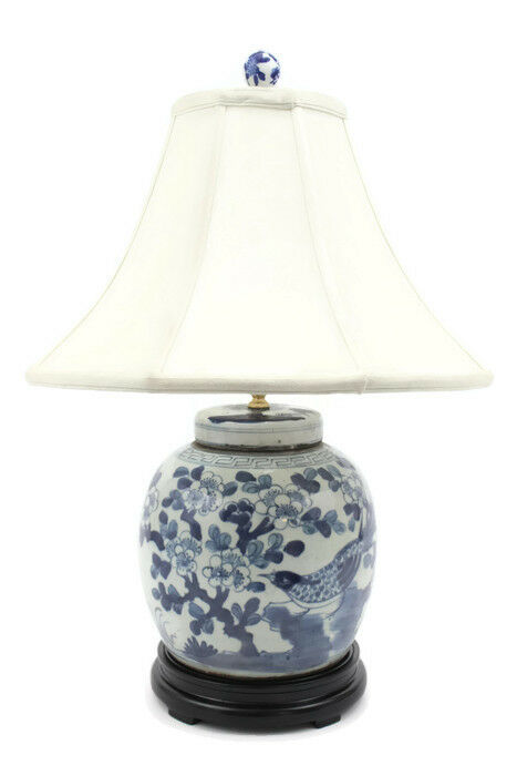Beautiful Blue And White Porcelain Flat Top Ginger Jar